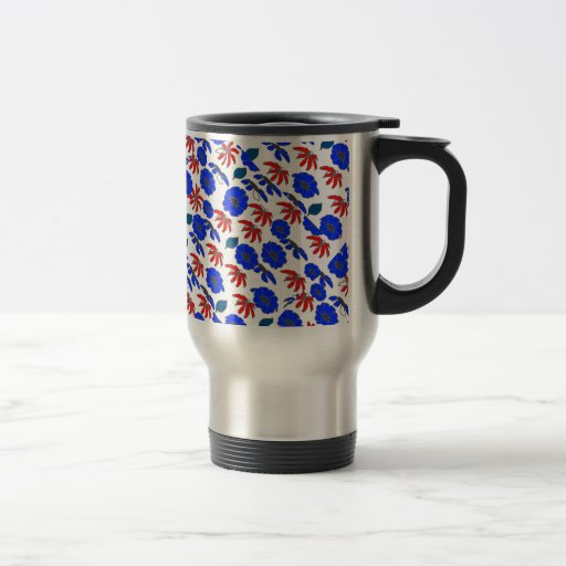 Floral mélange red white and blue pattern coffee mugs