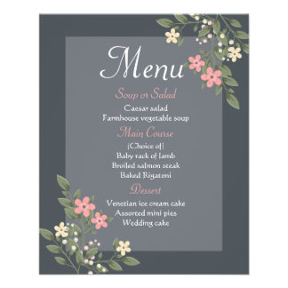 Floral Menu Gray & Pink Flowers Grey Wedding Party