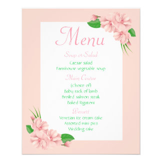 Floral Menu Pink & Green Flowers - Wedding Party