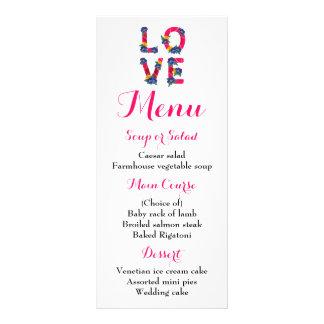 Floral Menu Pink Love Boho Wedding
