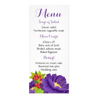 Floral Menu Purple Flowers Wedding Party