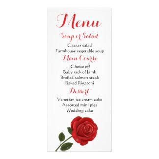 Floral Menu Red Rose Flower Wedding