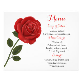 Floral Menu Red Rose Flower Wedding