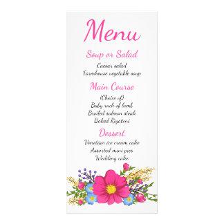 Floral Menu Watercolor Pink Flowers Wedding Party