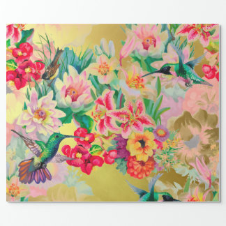 Floral Mint Garden Gold Pink Pastel Thunder-Bird Wrapping Paper