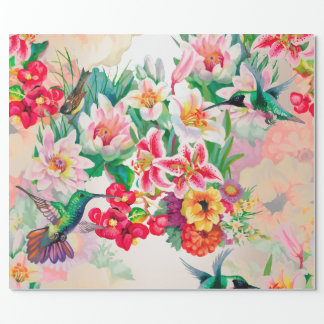 Floral Mint Garden Pearl Pink Pastel Thunder-Bird Wrapping Paper