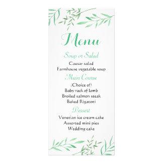 Floral Mint Green Menu Leaves Rustic Wedding