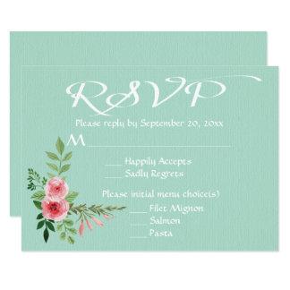 Floral Mint Green RSVP Pink Roses Flowers Wedding 9 Cm X 13 Cm Invitation Card