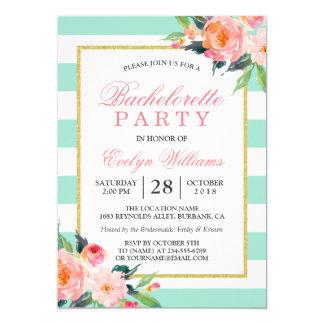 Floral Mint Green Stripes Gold Bachelorette Party 13 Cm X 18 Cm Invitation Card