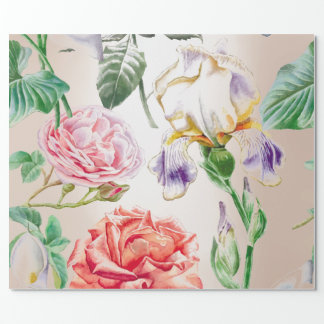 Floral Mint Tropical Roses Pink Creamy Pearly Wrapping Paper