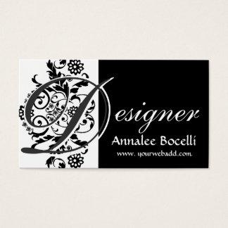 Floral Modern Elegant Trendy Monogram Black Business Card