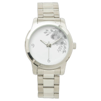 Floral Monochromatic Elegant Stylish Sophisticated Watch