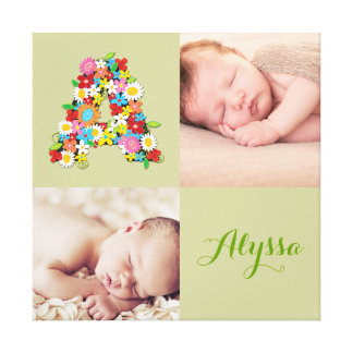 Floral Monogram A Baby Girl Photo Collage Canvas Canvas Print