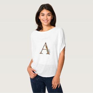 Floral monogram A, custom name T-Shirt