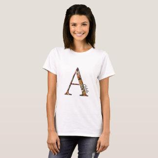 Floral monogram A, T-shirt, custom name T-Shirt