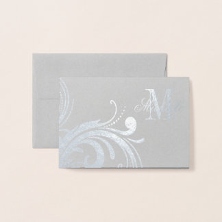 Floral Monogram and Name Foil Card