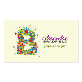 "Floral Monogram ""B"" Initial Business Card"