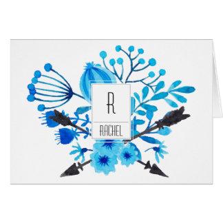 Floral Monogram Blank Note Card Blue Flowers