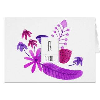Floral Monogram Blank Note Card Purple Flowers