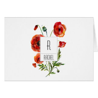 Floral Monogram Blank Note Card Red Poppy Flowers