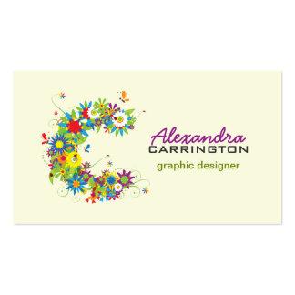 "Floral Monogram ""C"" Initial Business Card"