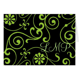 Floral Monogram (dark) Card