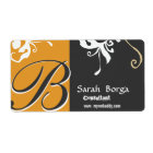 Floral Monogram Daylily Black and Gold