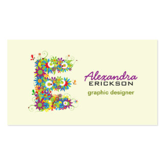"Floral Monogram ""E"" Initial Business Card"