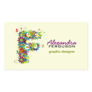 """Floral Monogram """"F"""" Initial Business Card"""