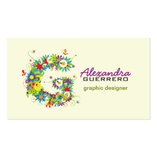 """Floral Monogram """"G"""" Initial Business Card"""