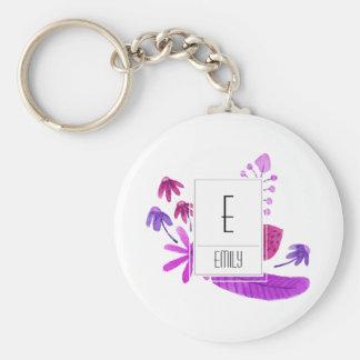 Floral Monogram Initial Keychain Purple Flowers