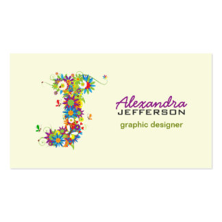 "Floral Monogram ""J"" Initial Business Card"