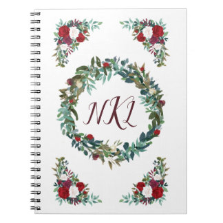 Floral Monogram Journal with Red Roses & Greenery