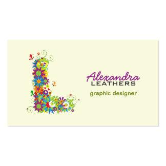 "Floral Monogram ""L"" Initial Business Card"
