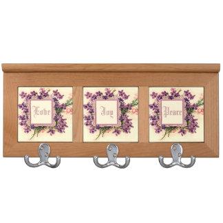 Floral monogram Love, Joy, Peace Coat Rack