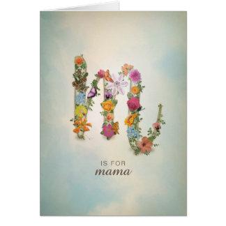 Floral Monogram M, custom name, letter M Card