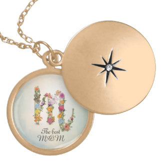 Floral Monogram M, custom text, The best MOM Locket Necklace