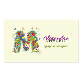 "Floral Monogram ""M"" Initial Business Card"