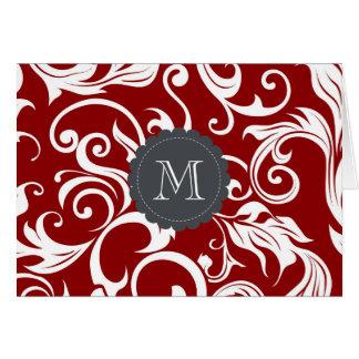 Floral Monogram Note Card Dark Wine Red