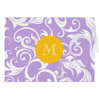 Floral Monogram Note Card Lavender Peach