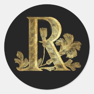 Floral Monogram R Classic Round Sticker