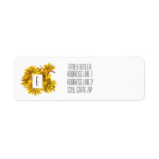 Floral Monogram Return Address Label Gazanias