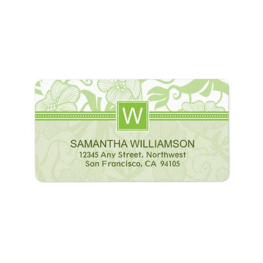 Floral Monogram Return Address Labels (green)