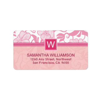 Floral Monogram Return Address Labels (pink)