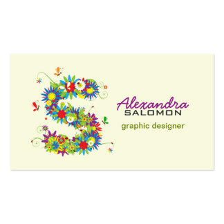 """Floral Monogram """"S"""" Initial Business Card"""