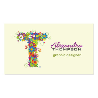 "Floral Monogram ""T"" Initial Business Card"
