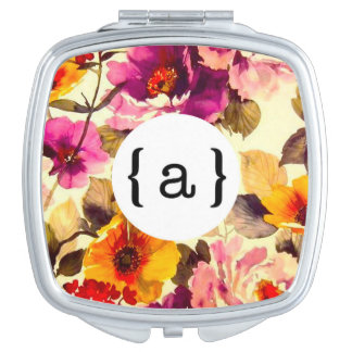 Floral Monogram Travel Mirrors