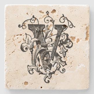 Floral Monogram 'V' Stone Coaster