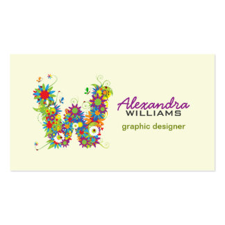 """Floral Monogram """"W"""" Initial Business Card"""