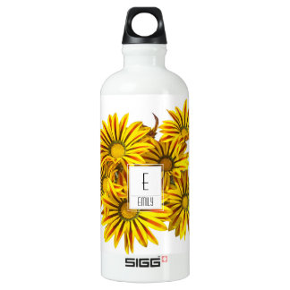 Floral Monogram Water Bottle Gazania Flowers